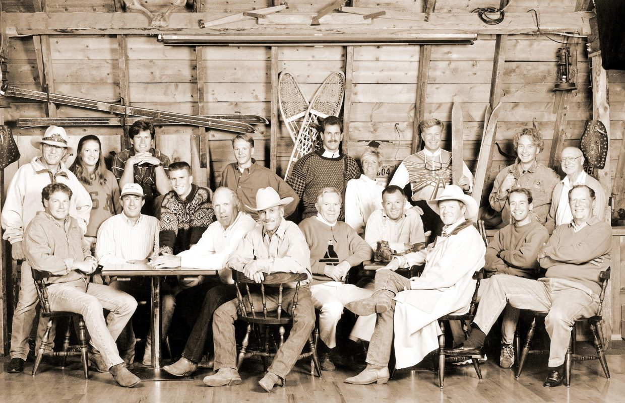 """Steamboat has produced more winter Olympians than any other place in North America, let alone the world, a record 56 and counting. Pictured, front, from left, Jack Miller, Todd Wilson, Dave Jarrett, Jim """"Moose"""" Barrows, Loris Werner, Ted Farewell, Tom Steitz, Ray Heid, Tim Tetreault, Marvin Crawford; back, from left, Billy Kidd, Ann Battelle, Nelson Carmichael, Todd Lodwick, Gary Crawford, Skeeter Werner-Walker, Jorge Toruella, Kris """"Fuzz"""" Fedderson, Grody Wren."""