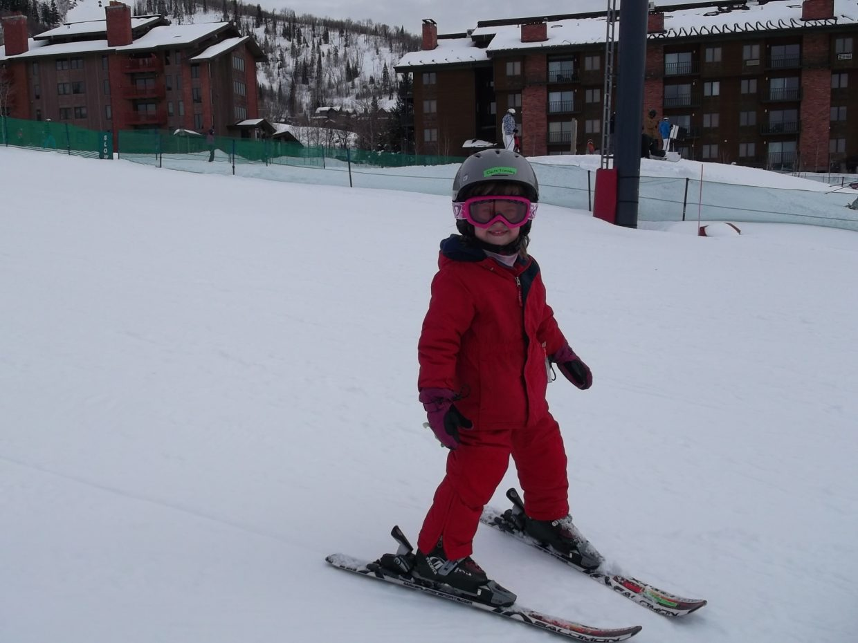 My niece, Claire, 4 years old taking her first run Saturday on Preview after three days of ski school. We had a blast! Submitted by: George Toma