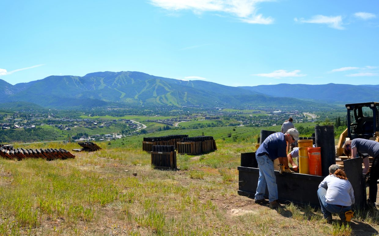 These pictures were taken at the top of Howelsen Hill today, where work crews were busy preparing the fireworks guns for July 4. Submitted by: Shannon Lukens