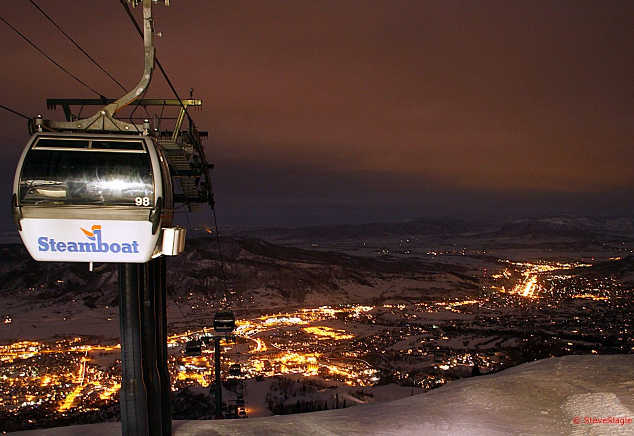 Steamboat and the gondola at night. Submitted by: Steve Slagle