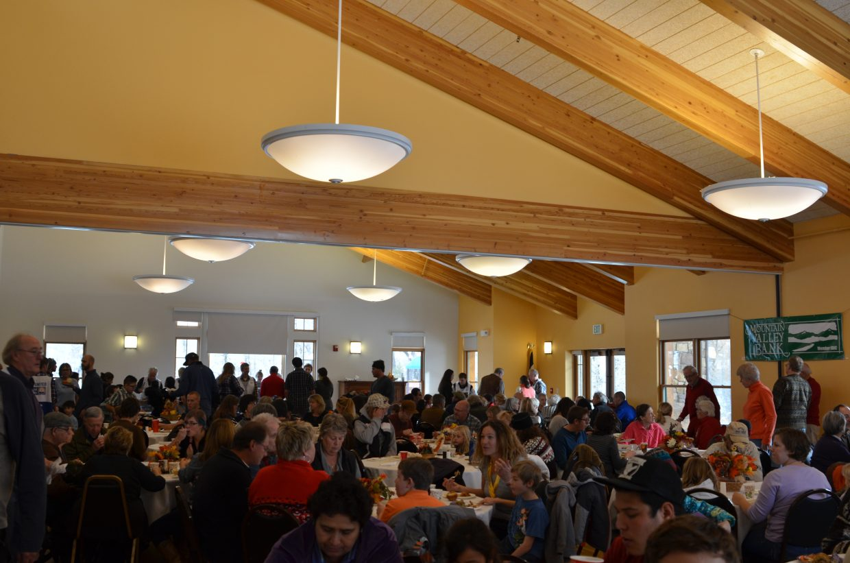 Community members gather on Thanksgiving to take part in Routt County United Way's annual Community Thanksgiving Dinner.