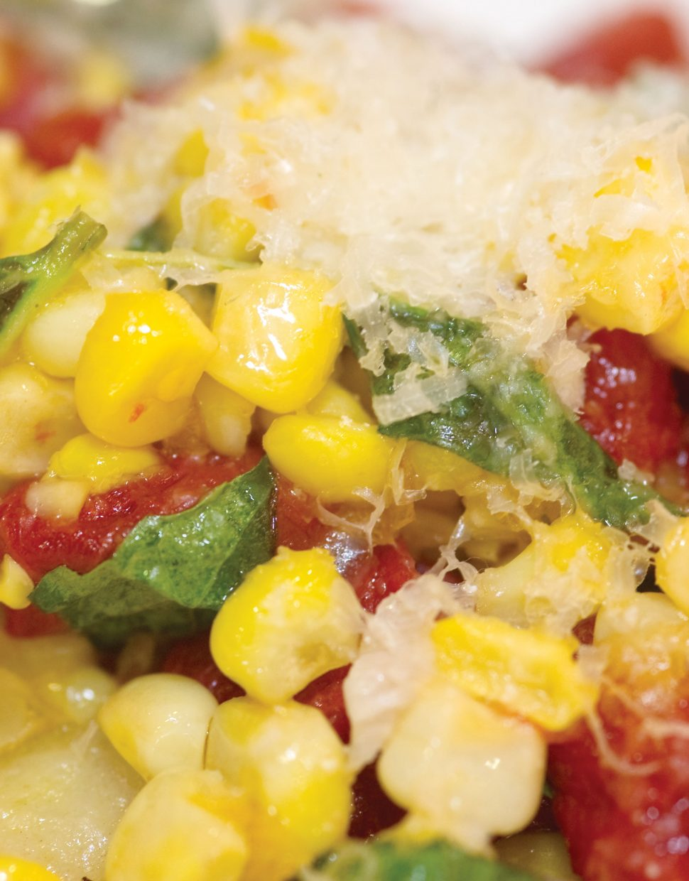 Roasted corn gnocchi with cherry tomatoes is just one of the tasty treats chef Ezra Duker likes to whip up at the Truffle Pig restaurant inside One Steamboat Place.