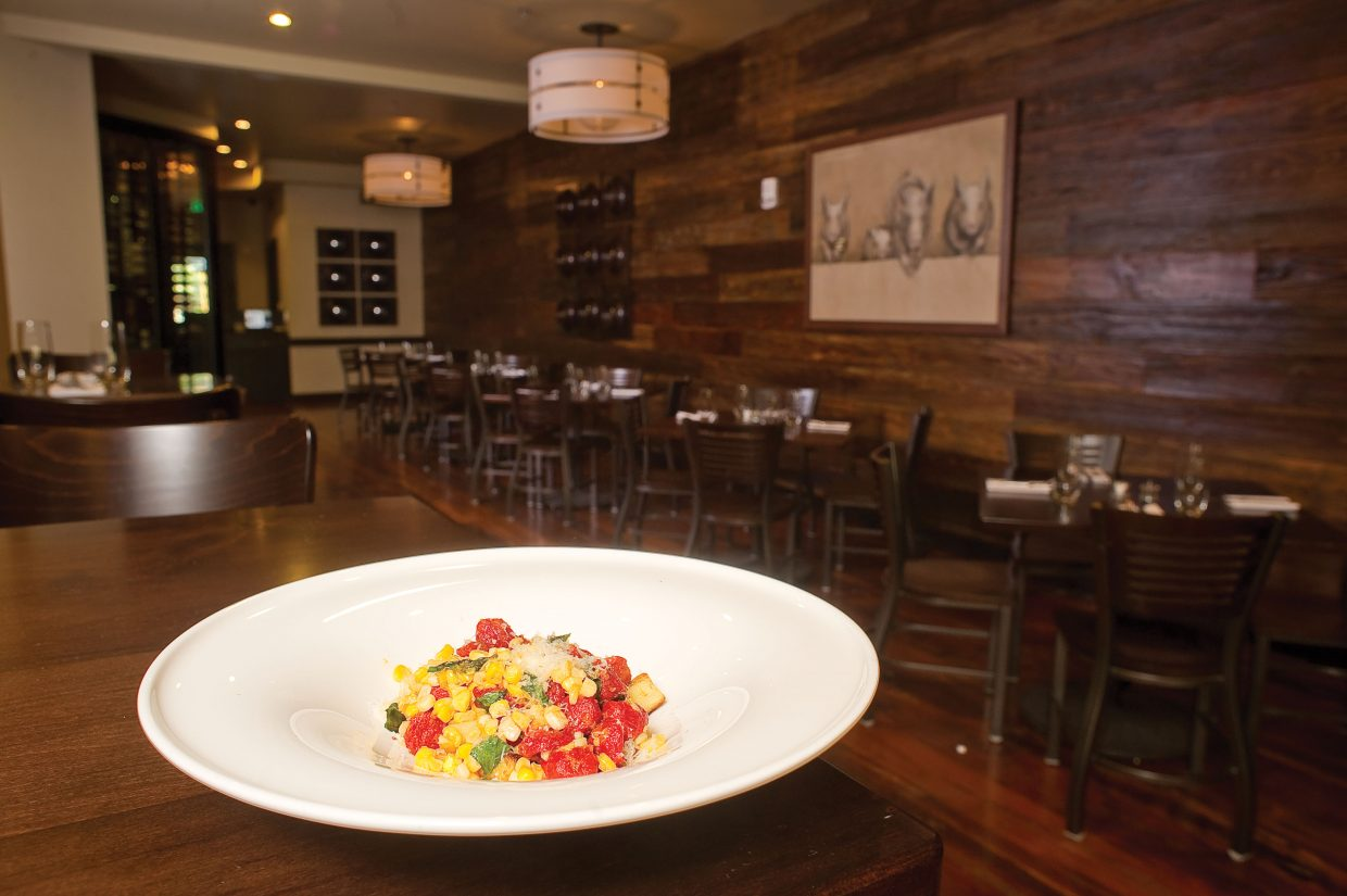 Roasted corn gnocchi with cherry tomatoes is just one of the tasty treats chef Ezra Duker likes to whip up at Truffle Pig.