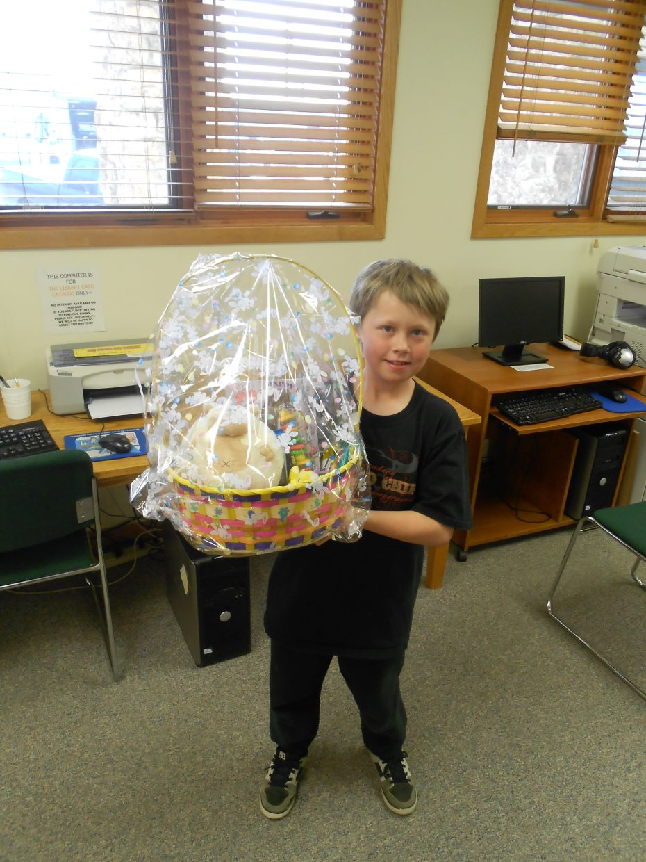 Taylor Powell won the Hayden Friends of the Library's Easter basket raffle last week. Two baskets were donated from the Steamboat Walgreens store. The other winner was Sandy Nelson. Submitted by: Ana Lash