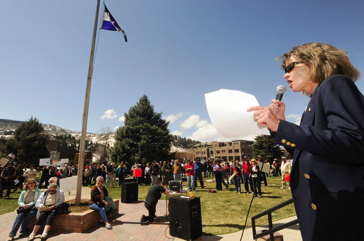 Taxpayer Tea Party at Steamboat Springs organizer Jennifer Schubert-Akin speaks during the rally Wednesday in front of the Routt County Courthouse.