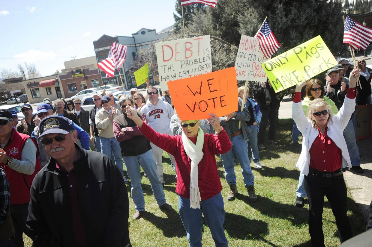 Supporters attend the Taxpayer Tea Party.