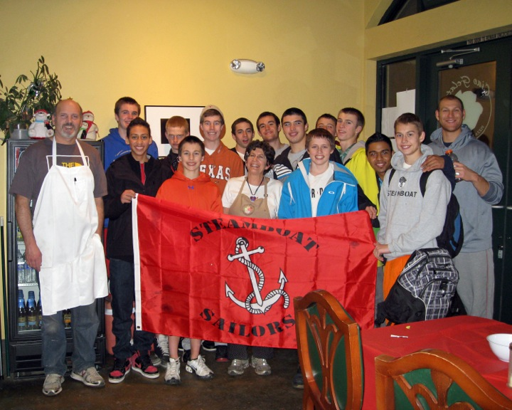 Steamboat Springs High School varsity basketball team having their team dinner at Ciao Gelato. Photo by: Jan Depuy