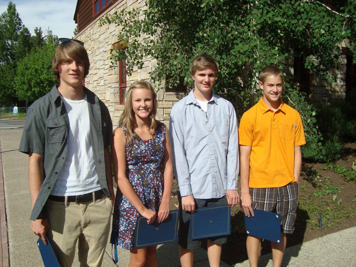 Steamboat Springs Teen Council Teen of the Month winners accept a proclamation from the city of Steamboat Springs City Council on June 5. From left, Skyler Kauf, Brooke Metzler, Quinn Cain and Carter Kounovsky. Submitted by: Kate Elkins