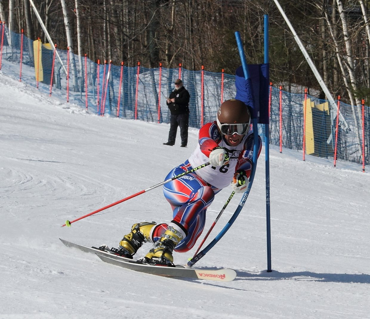 Steamboat Springs Telemark skier Charlie Dresen skis around a gate at the U.S. Telemark National Championships at Gunstock Mountain Resort in New Hampshire. Dresen put down several solid days in winning.