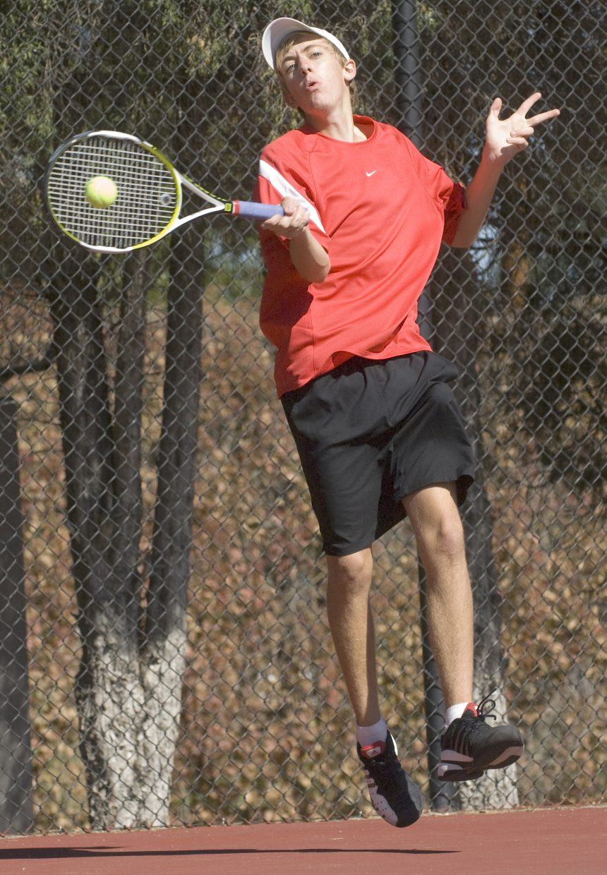 Steamboat Springs' Jeff Lambart returns a volley during a playback match against Fossil Ridge's Chad Orlich on Friday afternoon at the Colorado State High School Tennis Championships in Pueblo.