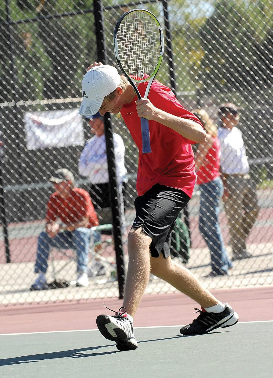 Steamboat Springs Jeff Lambart celebrates after winning a playback match against Fossil Ridge's Chad Orlich on Friday afternoon at the Colorado State High School Tennis Championships in Pueblo. Lambart won the match but lost to Niwot's Stephen Lammers later in the day.
