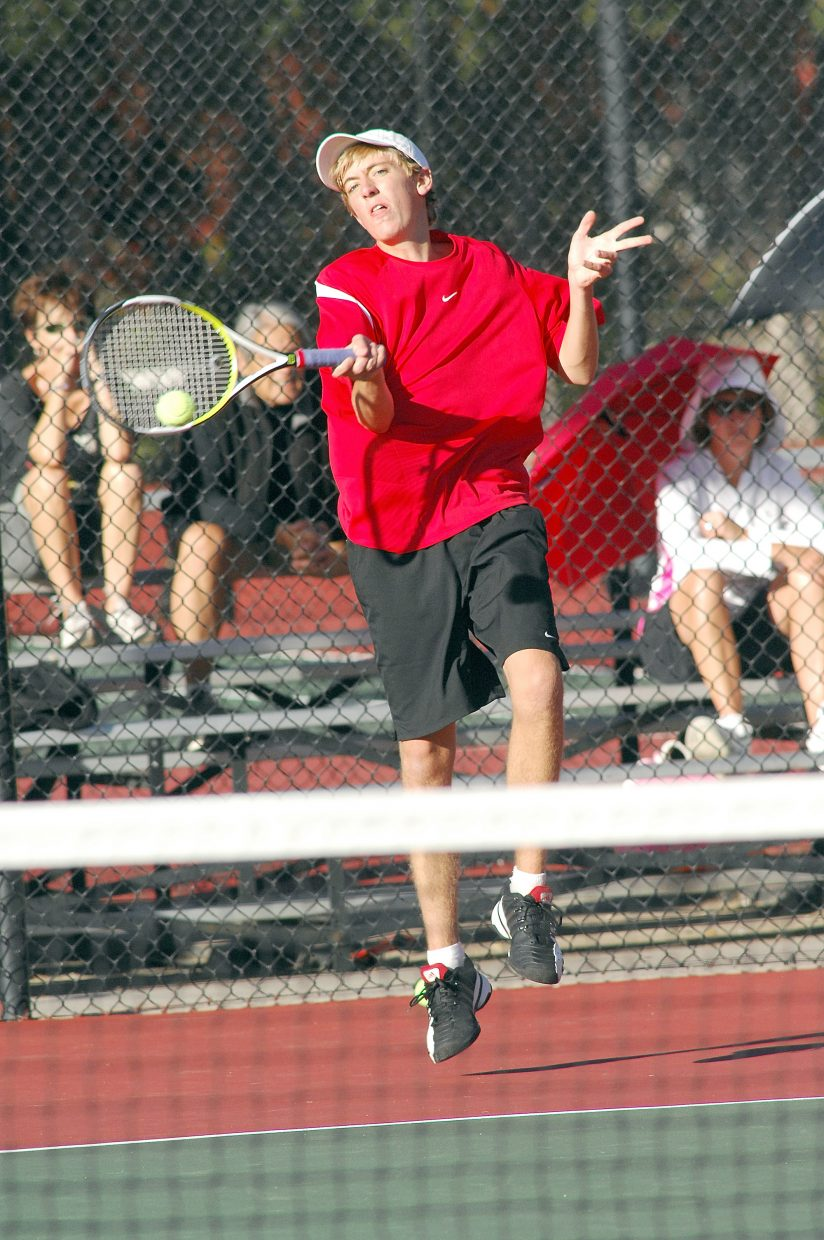 Steamboat Springs' Jeff Lambart fires a shot in a match against Fossil Ridge's Chad Orlich on Friday afternoon at the Colorado State High School Tennis Championships in Pueblo.