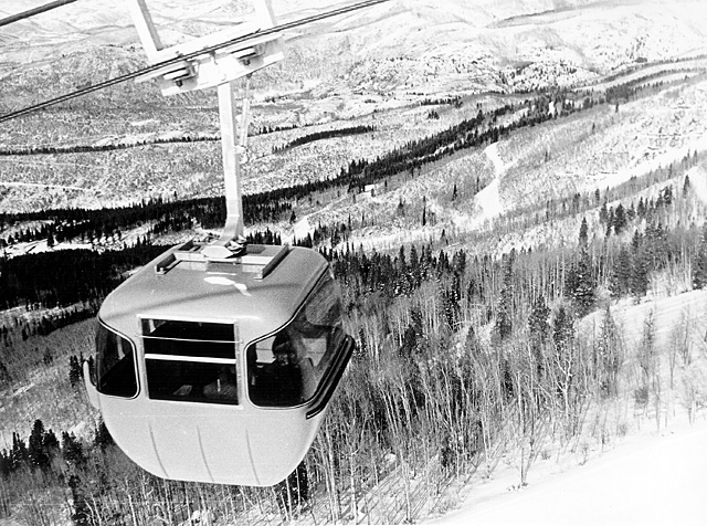 One of the ski area's first gondola cars.