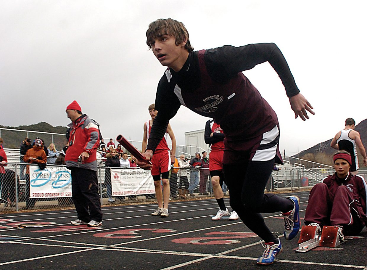 Soroco High School's David Strait explodes from the starting blocks Saturday during the 1,600-meter relay at the Demon Invitational track meet in Glenwood Springs. The Rams finished fourth in the event.