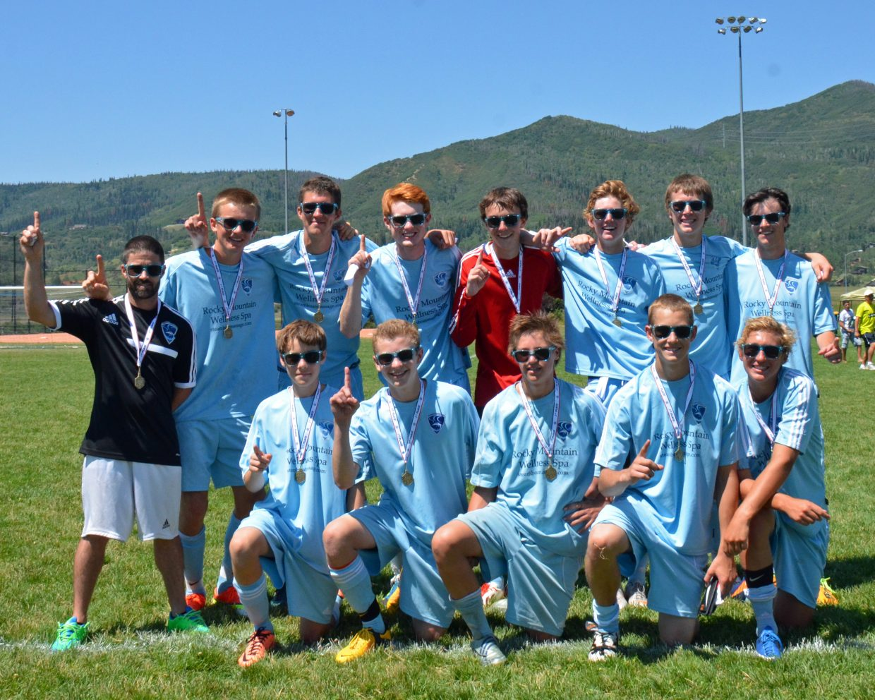 The Steamboat U18 Boys win their age group in the Steamboat Mountain Soccer Tournament after two overtime periods and a shoot-out. 125 teams played in the tournament. Submitted by: Jan DePuy