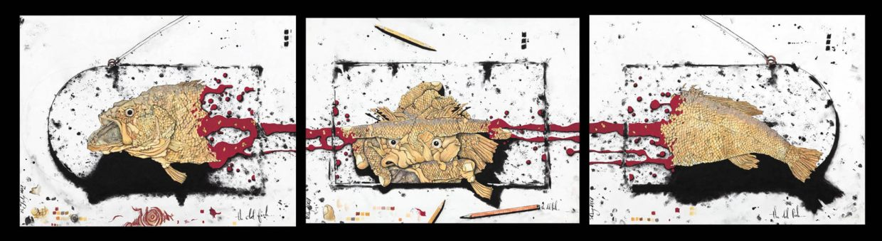 """""""The Old Fish Triptych"""" by Brian Leach. The work is on display through March 31 at Urbane clothing store."""