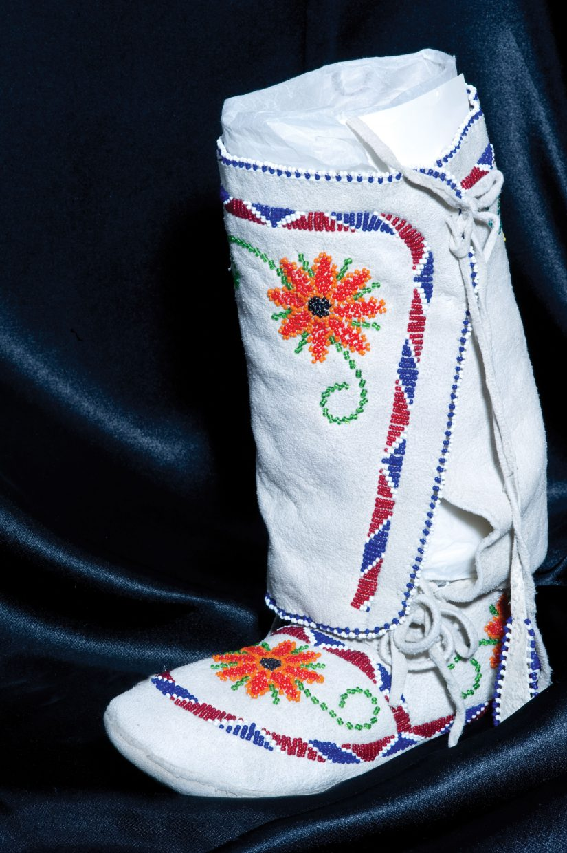 A beaded Ute Moccasin boot from the 1950s.