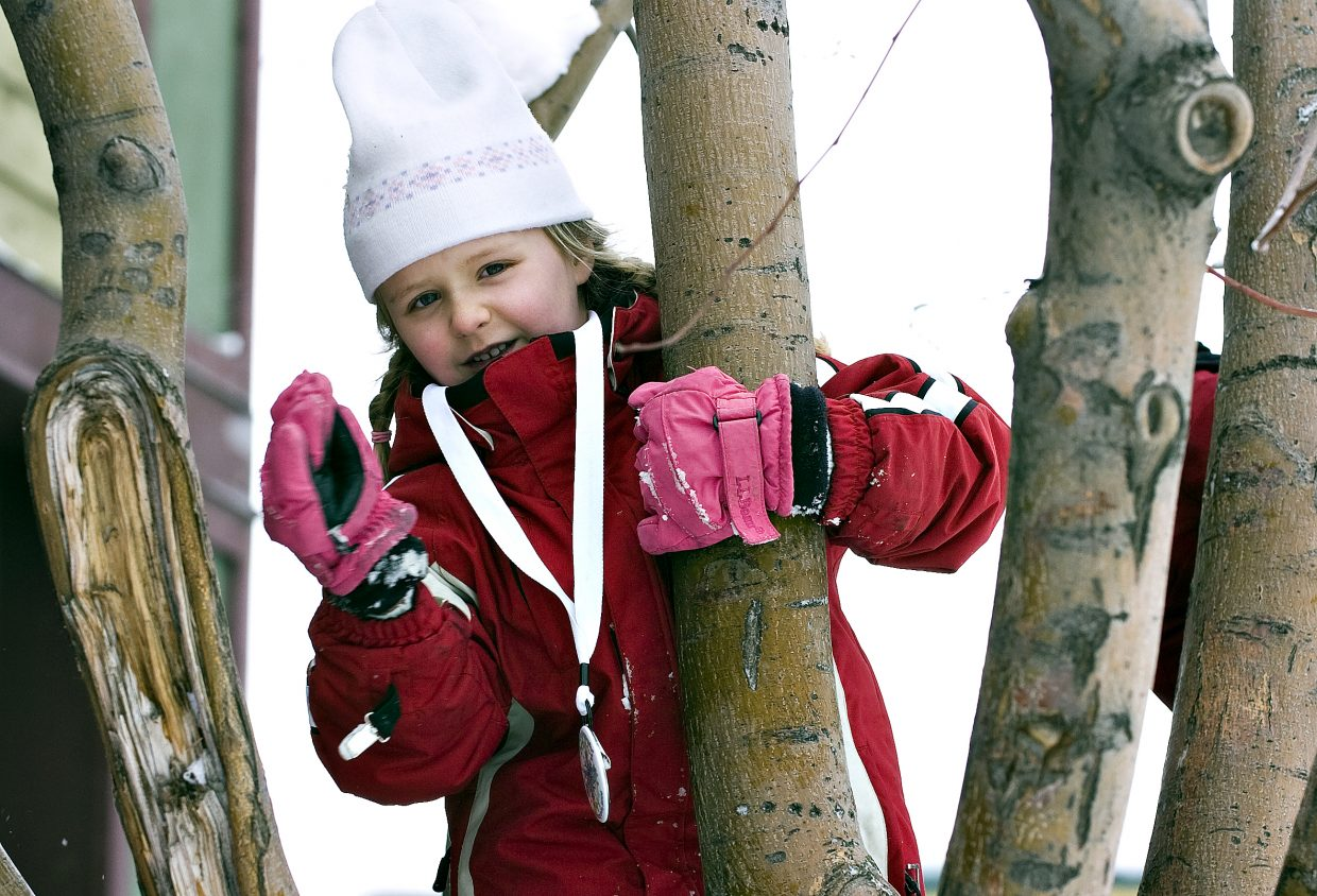 Tyler Berka, 6, climbs a tree for a better view of the festivities on Lincoln Avenue in Steamboat Springs on Saturday morning during the 95th annual Winter Carnival.