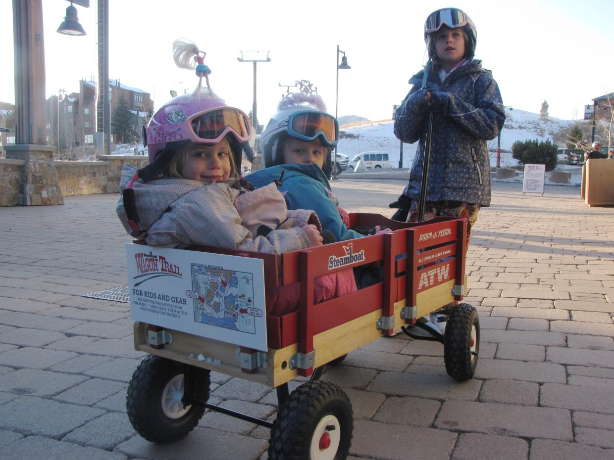 Kudos to Steamboat Ski and Resort Corp. for providing the new Wagon Trail wagons for kids and gear at Gondola Square. Submitted by: Karen Pharris