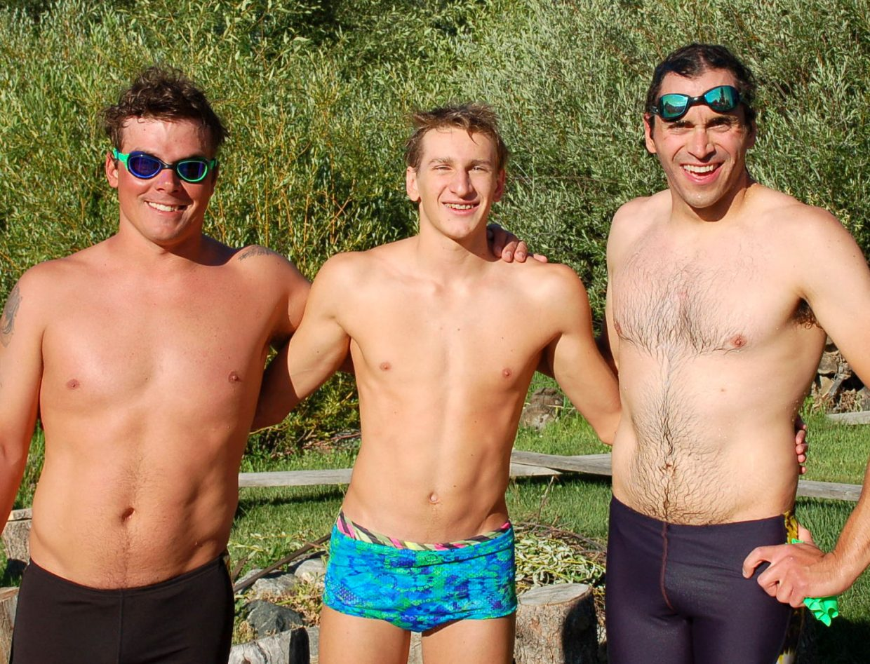Three men swam 1 mile of butterfly to join the exclusive Steamboat Springs Mile High Fly Club. Pictured: Sam Huff, Brendan Carta, Kyle Banman. Submitted by: Shannon Lukens