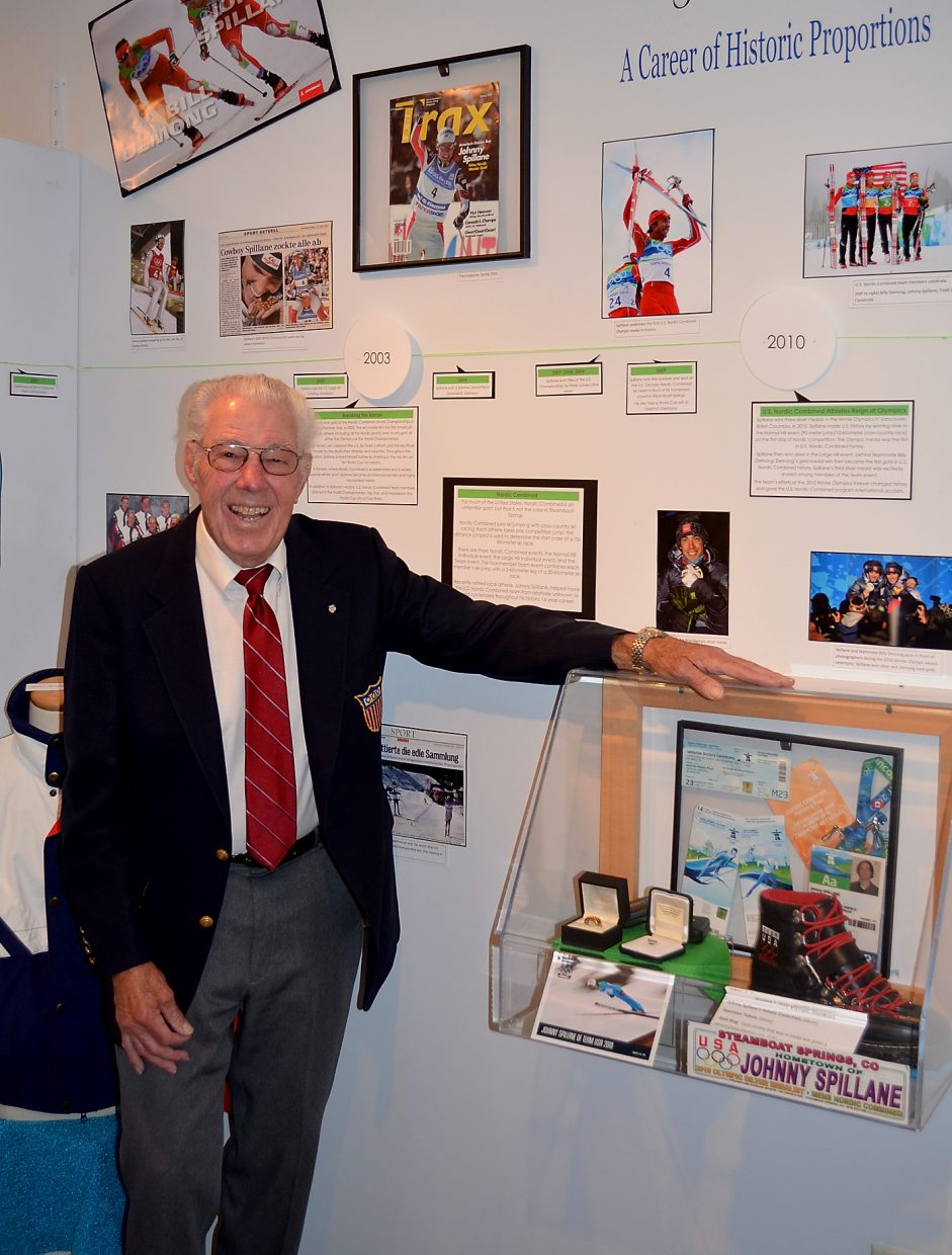 1952 Nordic combined Winter Olympian Paul Wegeman, 86, admires the ski history display at the Tread of Pioneers Museum in downtown Steamboat Springs on Friday before giving a talk about pivotal moments in the history of Nordic skiing in Steamboat Springs.