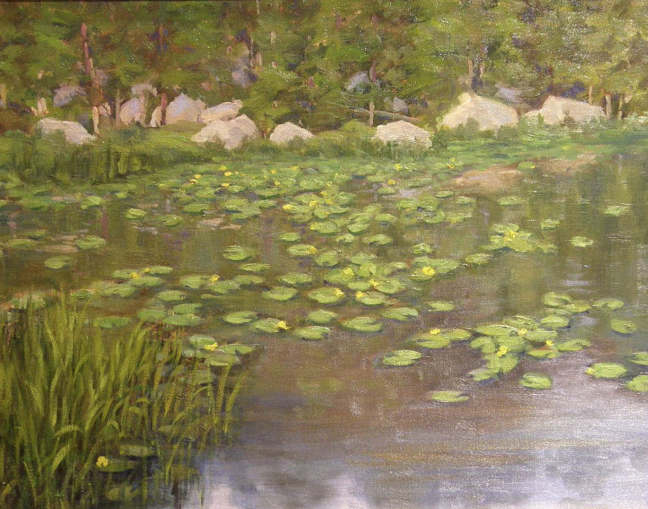 """""""Lily Pond"""" by Richard Galusha. The local painter's plein air landscapes are featured this month at Wild Horse Gallery."""