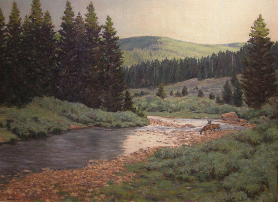 """""""Solomon Creek"""" by Richard Galusha. The local painter's plein air landscapes are featured this month at Wild Horse Gallery."""
