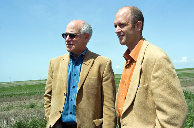 Colorado's Director of Natural Resources Harris Sherman, left, and Tom Plant, director of Gov. Bill Ritter's energy office were on hand for the official groundbreaking ceremony at the Peetz Table Wind Energy Center in Peetz on May 16.