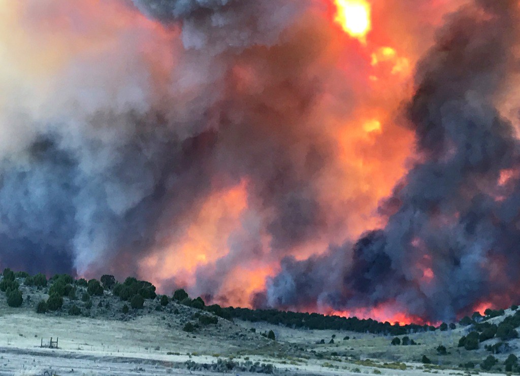 The Winter Valley Fire blazed across western Moffat County Thursday afternoon, pushed by winds of up to 50 miles per hour.