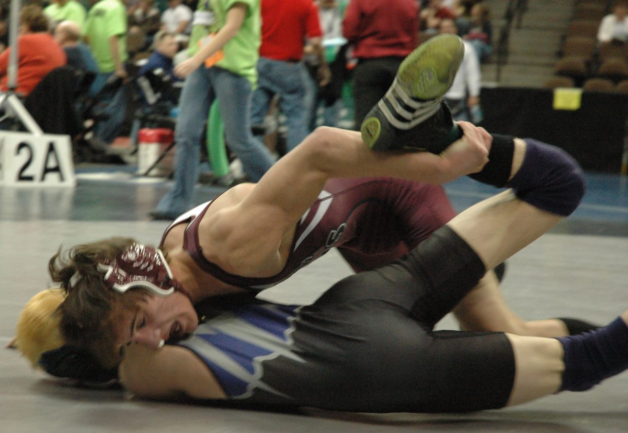 Soroco junior Justin Iacovetto defeated Sedgwick County's Trevor Herrick, 7-2, in the first round of Thursday's CHSAA State Wrestling Tournament in Denver.
