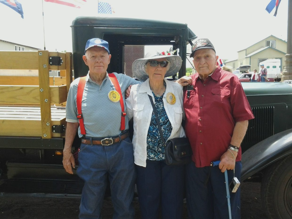 From left, Ed Farrington, Louise Iacovetto and Robert Rossi were the grand marshals of Yampa's Fourth of July parade. All three graduated from Yampa Union High School in 1943, and Iacovetto and Farrington have lived in South Routt since then.