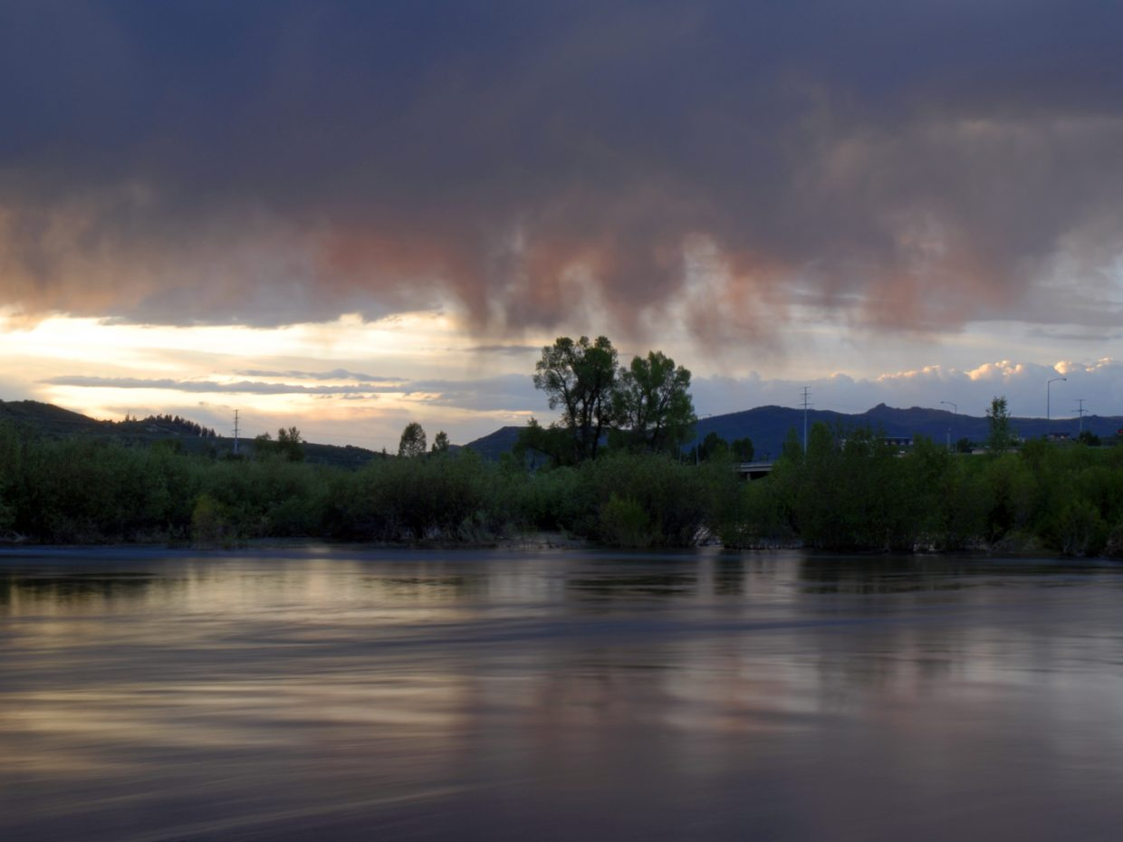 An evening on the Yampa River by Rotary Park.