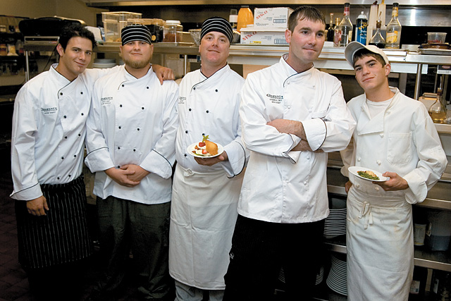 Chefs prepared gourmet food using ingredients native to the Yampa Valley for the 2017 Wild Edible Feast, which was held at Catamount Ranch and Club. Pictured from left are: Chef Jason Sirois, Sous Chef Sean A. Goodale, Sous Chef Dan Hoffman, Executive Chef Ariel Robey and Tyler Jones.