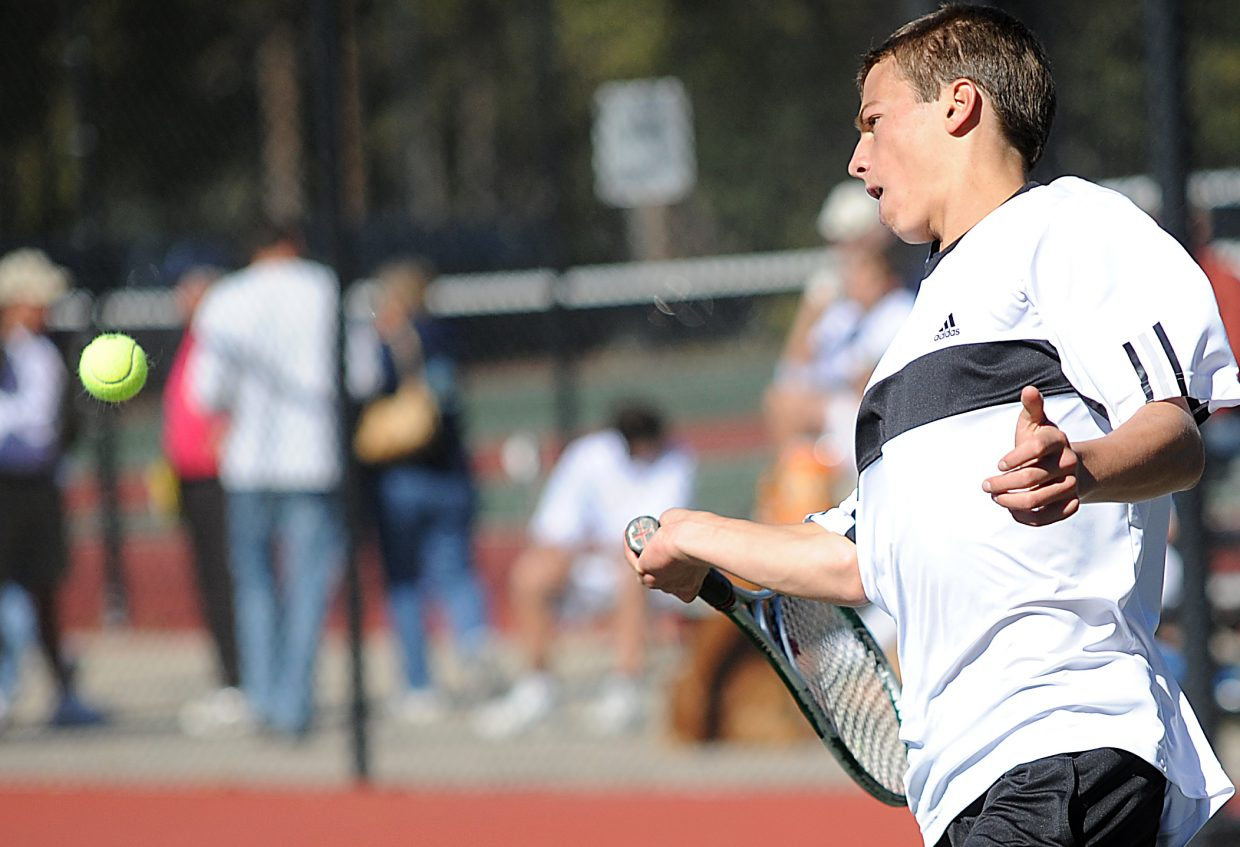 Keegan Burger plays Friday at the state tennis tournament in Pueblo.
