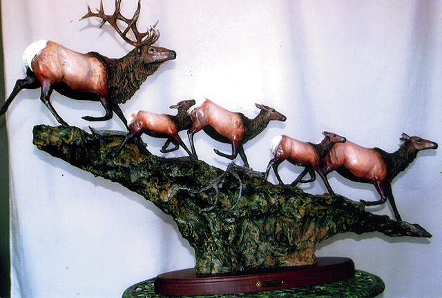 """""""King of the Mountain,"""" bronze sculpture of five elk by Don Beeler. Elk are his favorite animals to sculpture because of their large and intricate horns."""