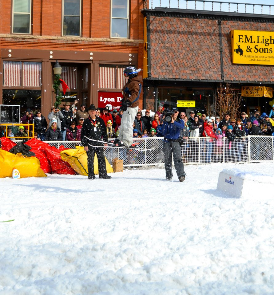A participant flies off the donkey jump during the Winter Carnival street events. Submitted by: Amy Johnson
