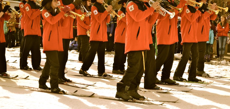 The Steamboat Springs High School ski band play during the Diamond Hitch Parade. Submitted by: Amy Johnson