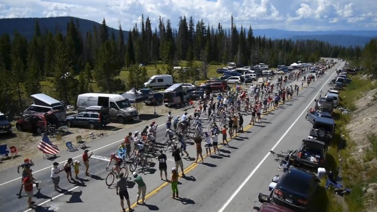 Riders climb Rabbit Ears Pass on Saturday during the USA Pro Cycling Challenge.