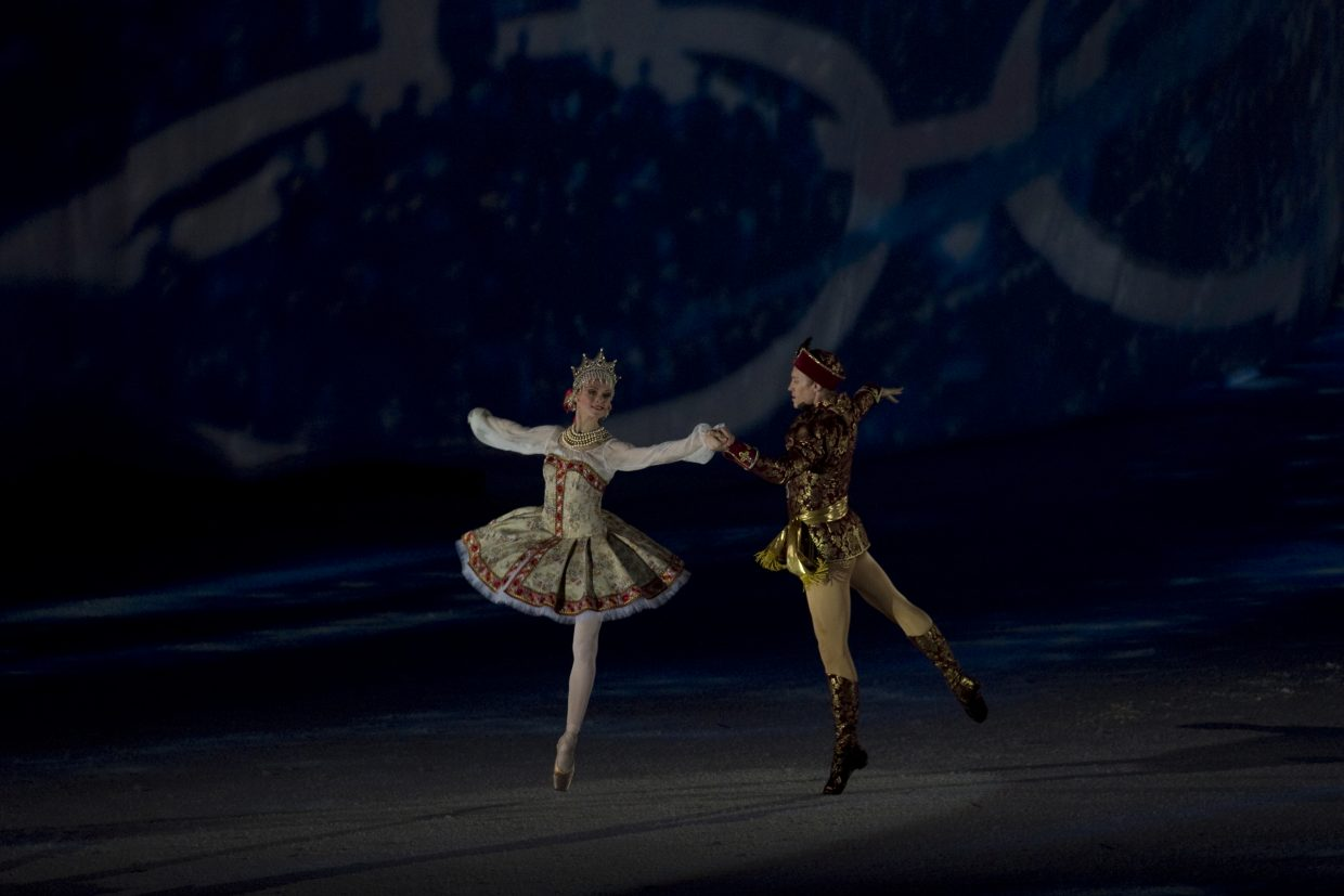 Russian dancers perform during the closing ceremonies for the 2010 Winter Olympics Games at BC Place in Vancouver, British Columbia.