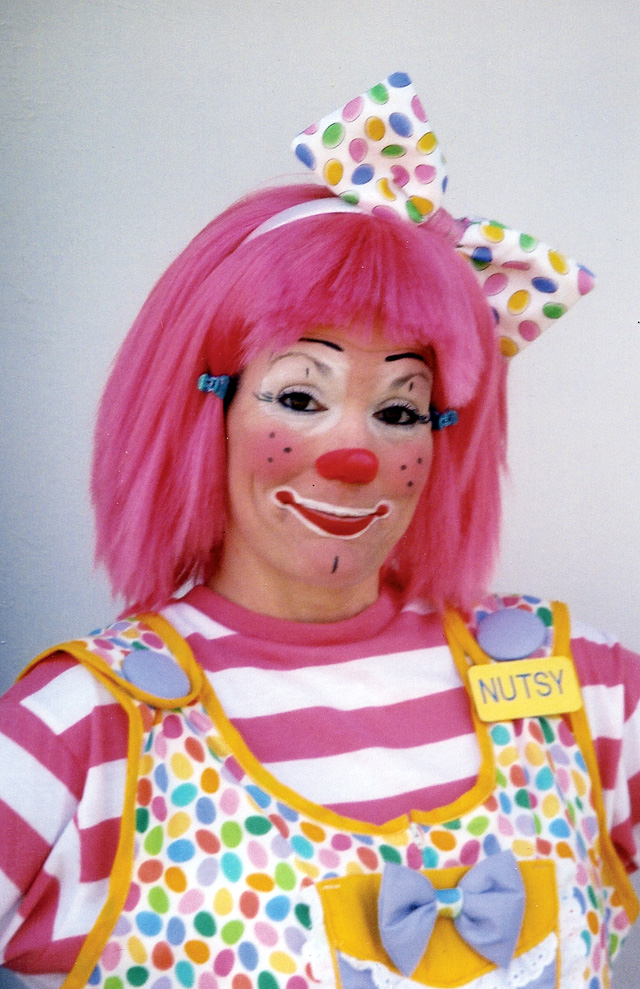 "Susan Merrill as Nutsy, a European clown. The European clown entails less face make-up and is a new breed of clown developed about 10 years ago. ""The European clown has nothing to do with Europe,"" Merrill said. ""This clown can do anything. It can throw a pie, take a pie, fall or whatever."""