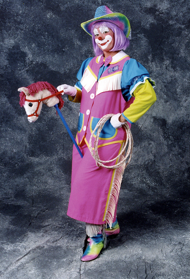 This is Susan Merrill's Yee-ha! Clown character, which is her cowgirl clown. This costume was designed specifically for Merrill by Pricilla Mooseburger, and costs $450.
