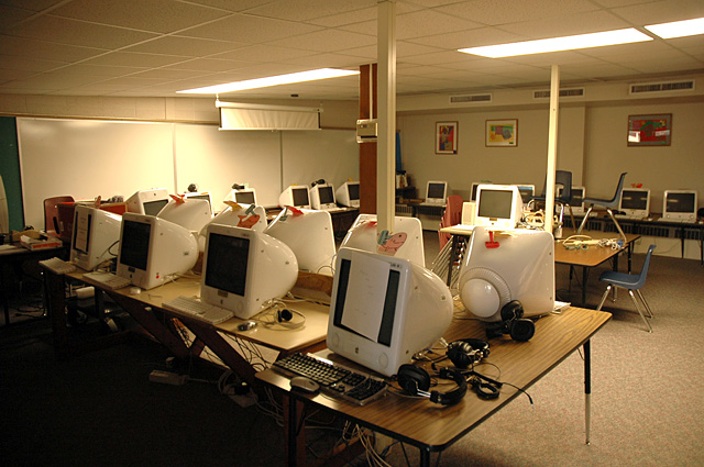 Soda Creek Elementary School wasn't built to accommodate computers, but now they are part of every classroom. In the computer room, a lack of ventilation combined with the heat from several computers can make for an uncomfortably warm environment.