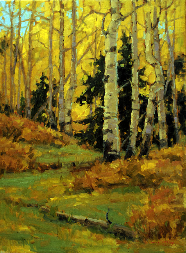"""""""Fall Colors,"""" oil on linen by Jean Perry. She and Curtis Zabel have an opening reception at the Depot Art Center tonight from 5 to 7 p.m."""