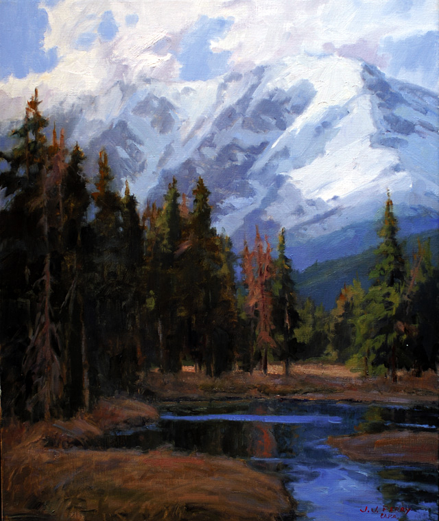 """""""Rugged Peaks,"""" oil on linen by Jean Perry."""