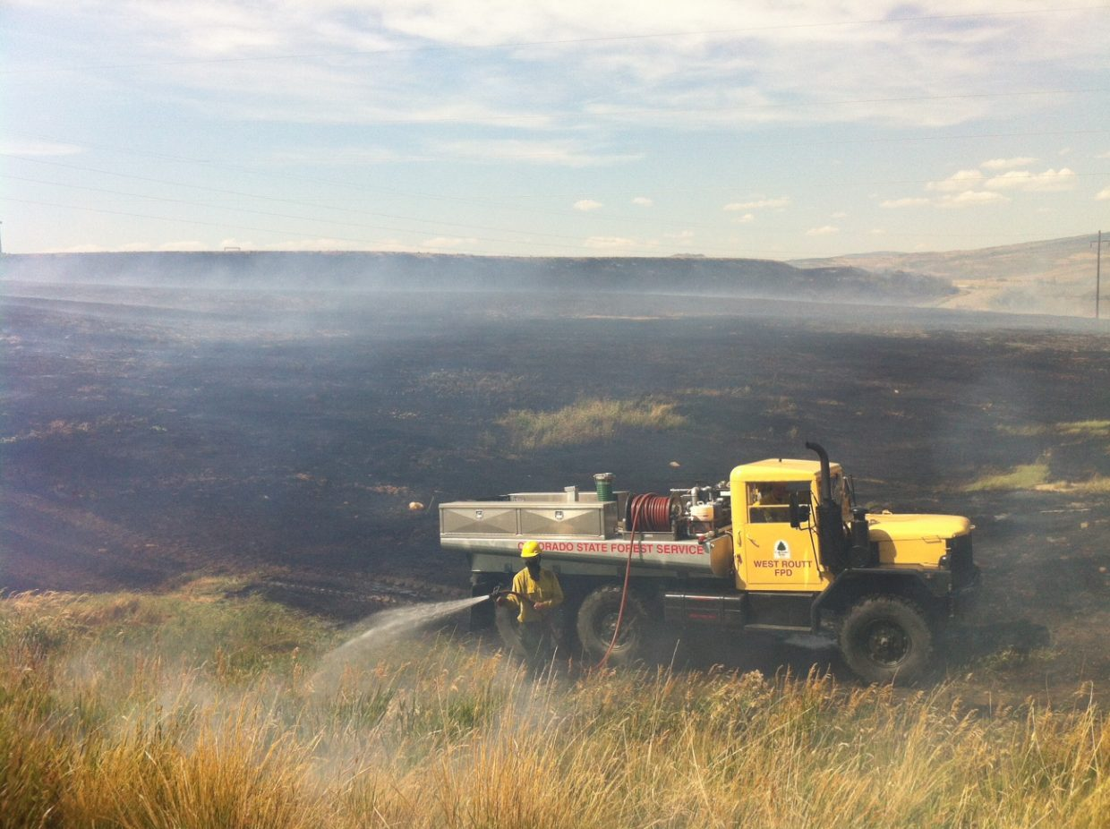 A fire that burned about 40 acres near the Hayden Station power plant is mostly out.