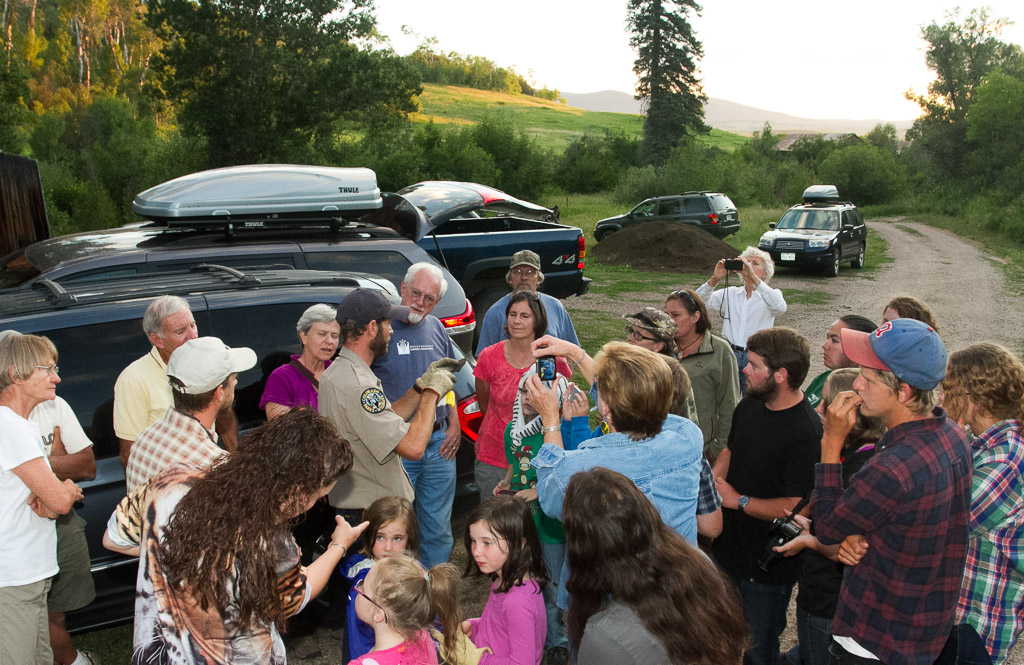 Colorado Parks and Wildlife bat biologist Dan Neubaum conducts a bat education program at the 