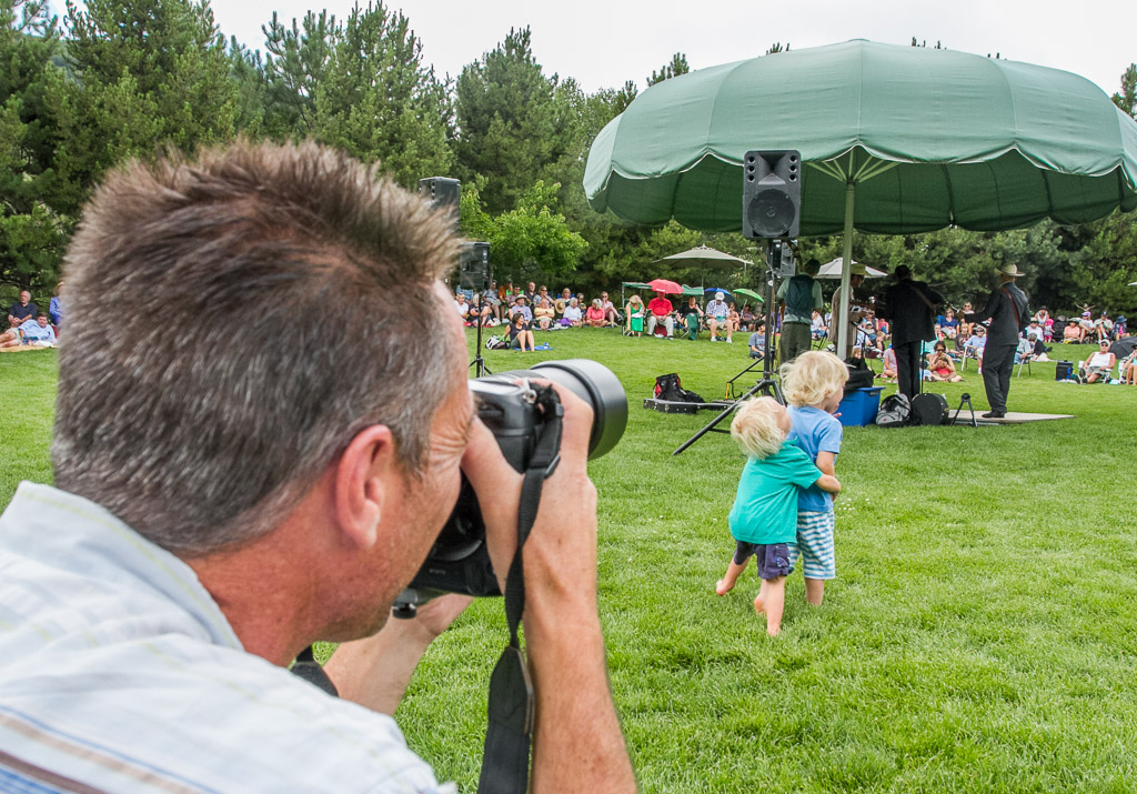 "Steamboat Today photographer John Russell captures the action at the Strings' ""Music on the Green"" concert at the Botanic Gardens featuring the Old Town Pickers. Submitted by: George Fargo"
