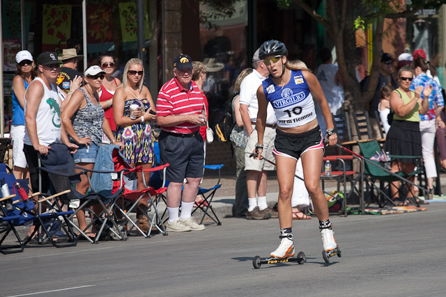 Kathryn Elkins nears the finish of the roller ski race. Submitted by: George Fargo