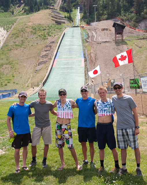 Finalists at the 2012 Ski Jumping Extravaganza including winner Johnny Spillane, along with Todd Lodwick, Billy Demong, Taylor Fletcher, Adam Loomis and Ben Berend. Submitted by: George Fargo