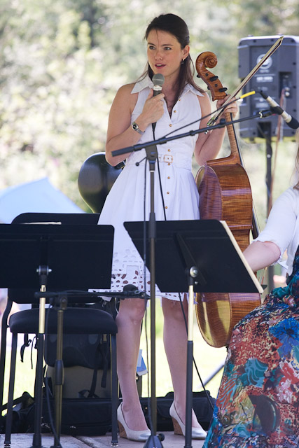 "Cellist Kimberly Patterson introduces the ""Variations on a Theme"" program presented by the Tesla Quartet at Music on the Green. Submitted by: George Fargo"